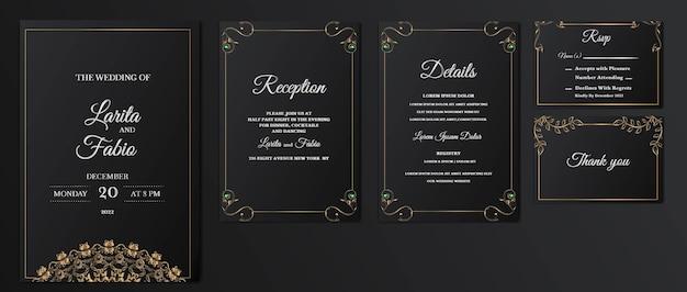 Imposta il lusso della raccolta salva la data della carta dell'invito di nozze Vettore gratuito