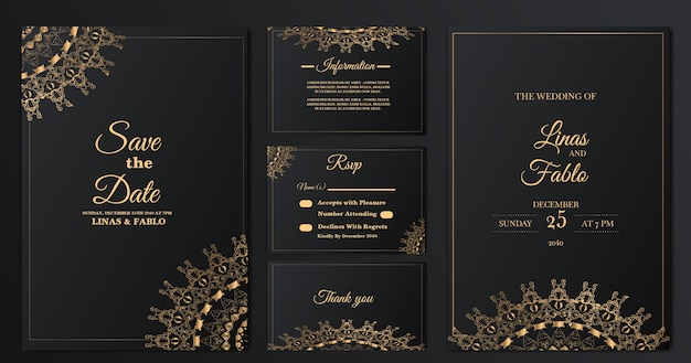 컬렉션 럭셔리 결혼식 초대 카드 서식 파일 설정 무료 벡터