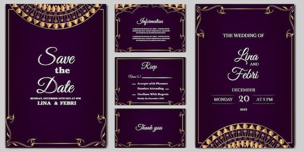 Набор шаблонов роскошных свадебных приглашений Premium векторы