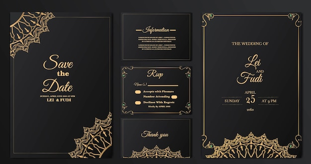 Set collection luxury wedding invitation card template Free Vector