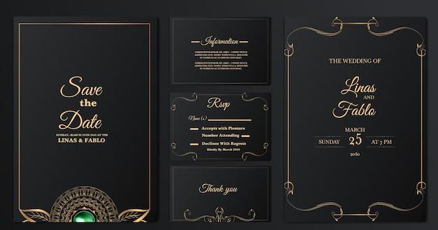 Impostare il modello di carta di invito matrimonio lusso collezione Vettore gratuito