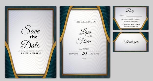 Набор роскошных свадебных приглашений Premium векторы