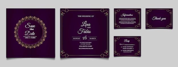 Impostare la carta di invito a nozze di lusso collezione Vettore gratuito