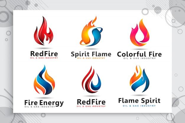 Установите коллекцию 3d логотипа с современными концепциями как символ нефтегазовой компании. Premium векторы
