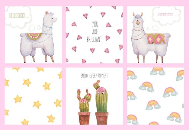 라마와 알파카, 선인장, 별, 다이아몬드, 수채화 일러스트와 함께 귀여운 카드 세트 컬렉션 프리미엄 벡터
