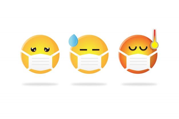 Набор смайликов в маске во время коронного гриппа Premium векторы