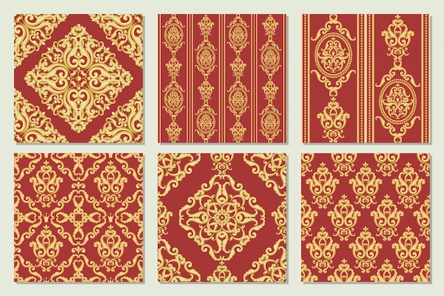 Set collection of seamless damask patterns. gold and red textures in vintage rich royal style. vector illustration. Premium Vector