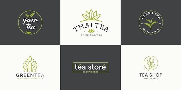 Set collection tea leaf logo design template. logotype for tea shop, tea store, packaging product. Premium Vector