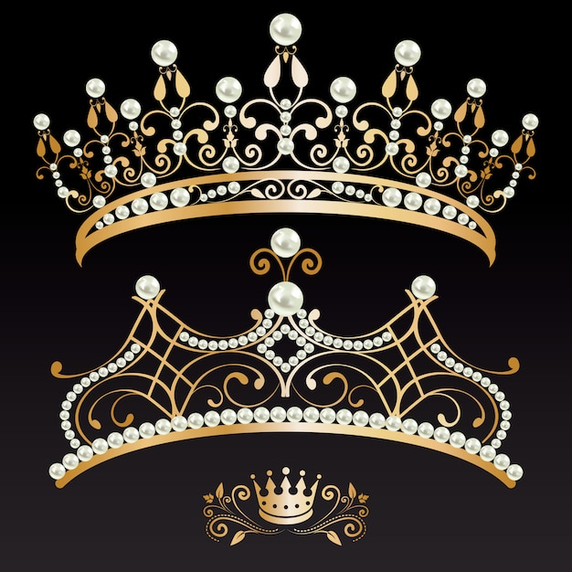 Set collection of two golden with pearls tiaras and crown Premium Vector