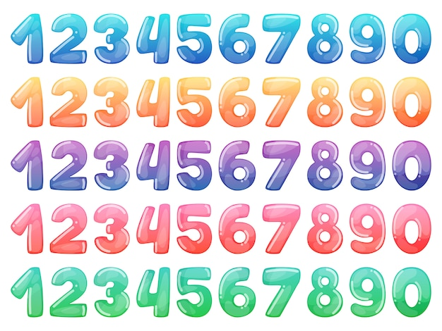 Set of color cartoon numbers. rainbow candy and glossy funny cartoon symbols. Premium Vector