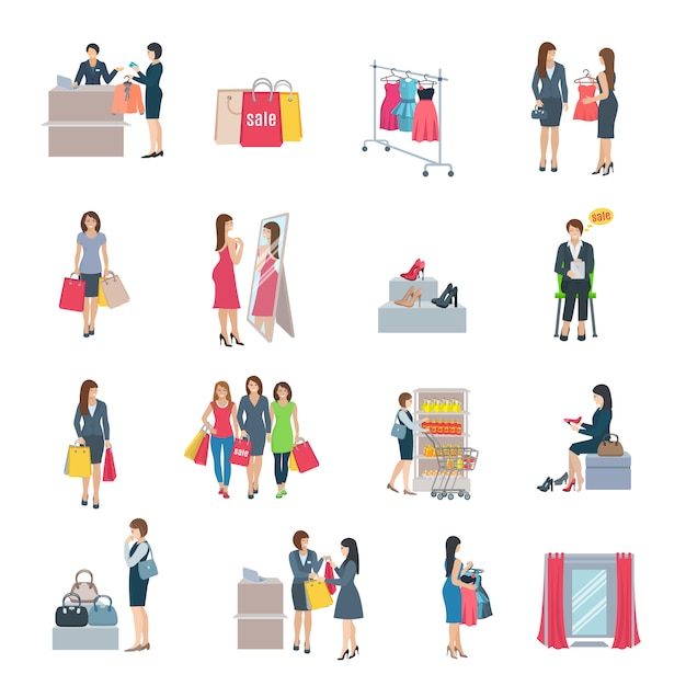 Set of color flat icons depicting woman shopping selection clothes shoes bag in store Free Vector
