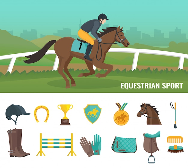 Set of color flat icons showing equipment jockey and equestrian sport Free Vector