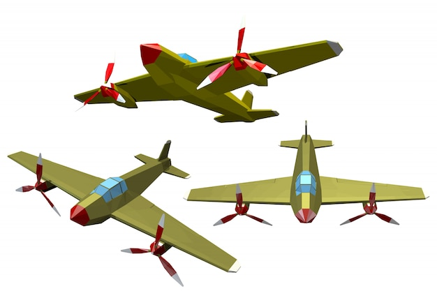 Set of color military airplanes on a white. Premium Vector