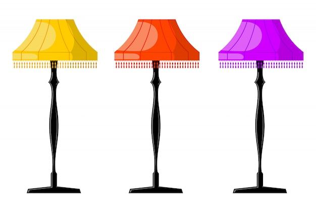 Premium Vector Set Of Color Retro Cartoon Floor Lamps