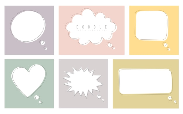 Set of color speech bubbles in drawing style. dialog windows with space for phrases and text messages. Premium Vector