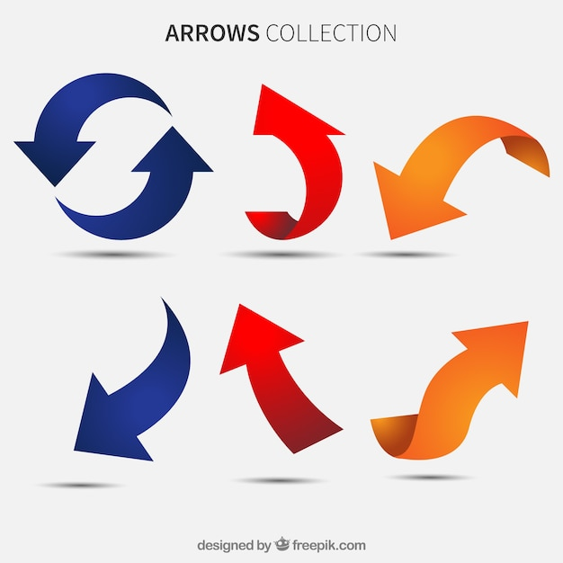 Set of colored arrows Free Vector