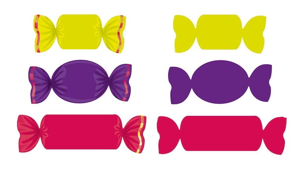 Set of colored candies in different shapes Premium Vector