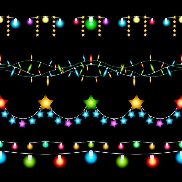 Установите цветные рождественские огни на темном фоне Бесплатные векторы