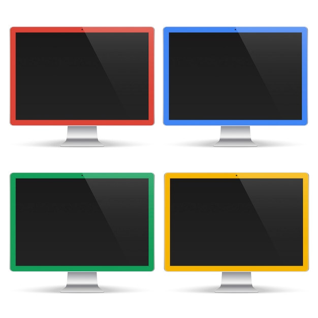 Set of colored computers with black screen isolated on white background. realistic monitor mockup Premium Vector