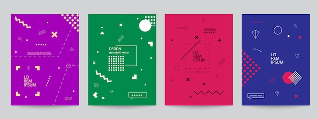 Set of colored covers with minimal design and geometric forms Premium Vector