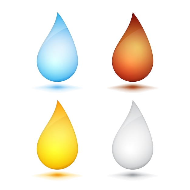 Set of colored drops on white background, vector eps10 illustration Premium Vector