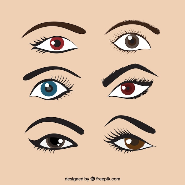 Set of colored eyes and eyebrows Free Vector