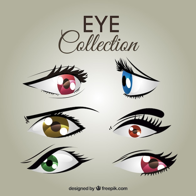 Set of colored female eyes Free Vector