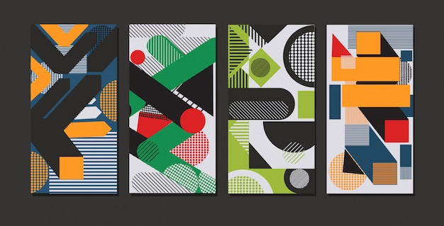 Set colored geometric forms abstract background banners modern graphic elements online mobile app memphis style horizontal Premium Vector