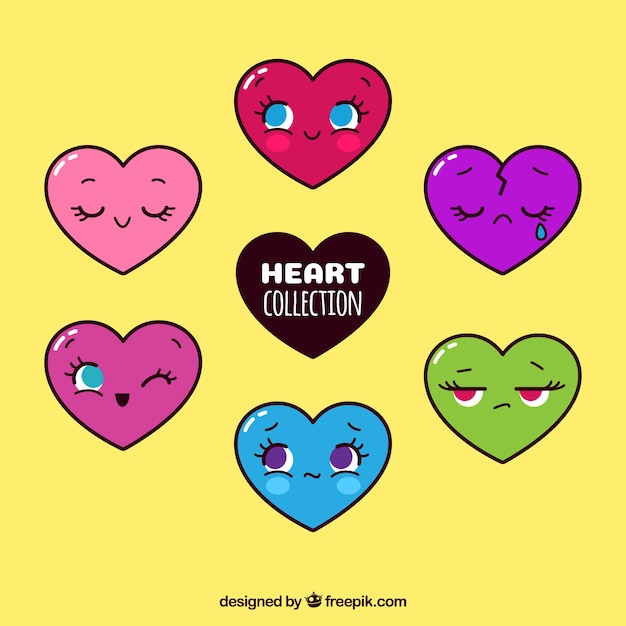 Set of colored hearts characters Free Vector