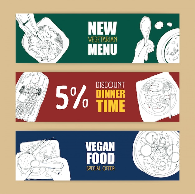 Set Of Colored Horizontal Banner Templates With Delicious Vegan And Vegetarian Meals Hand Drawn With Contour Lines In Monochrome Colors Premium Vector