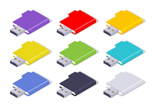 Set of the colored isometric usb flash-drives Premium Vector