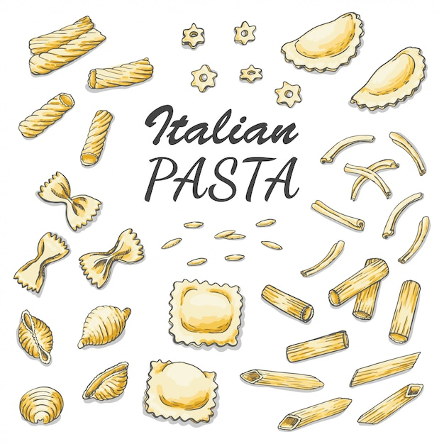 Set of colored italian pasta Premium Vector