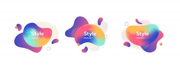 Set of colored liquid shape with splashes banner Free Vector