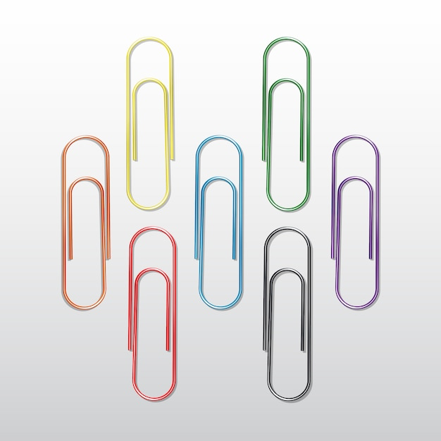 Set of colored paper clips  on white background Premium Vector