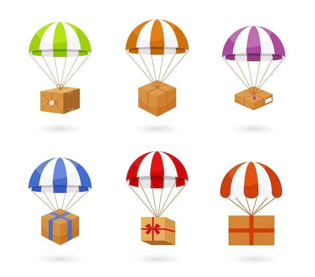 Set di paracadute colorati che trasportano scatole marroni per la consegna isolati su sfondo bianco. Vettore gratuito