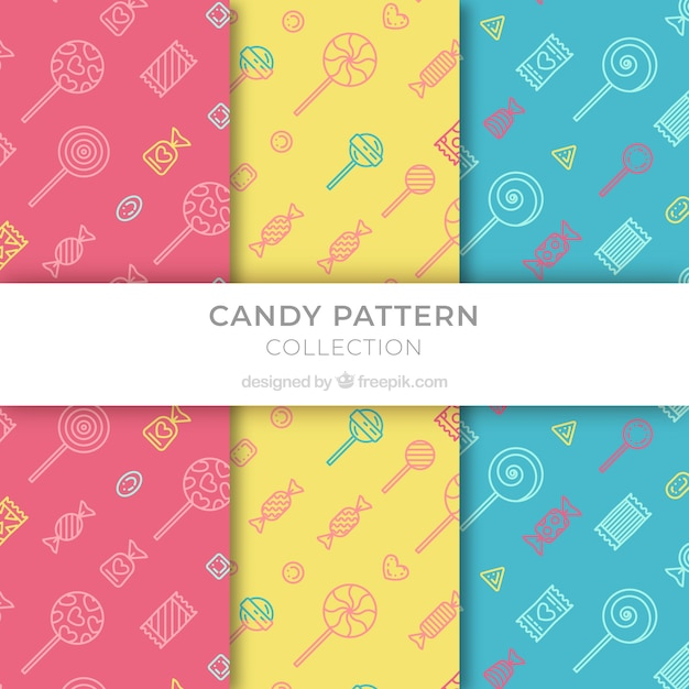 Set of colored patterns with candies Free Vector