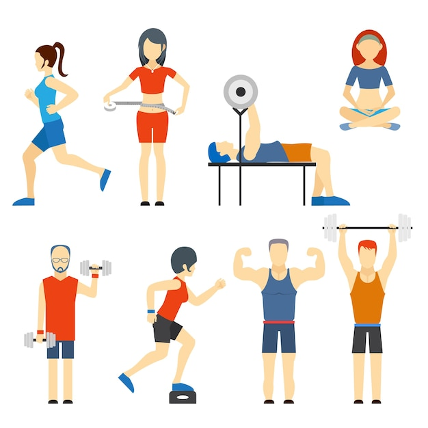 Set of colored vector icons of people exercising at the gym and fitness icons with weight lifting  bodybuilding  running  jogging  yoga and weight loss measurement Free Vector