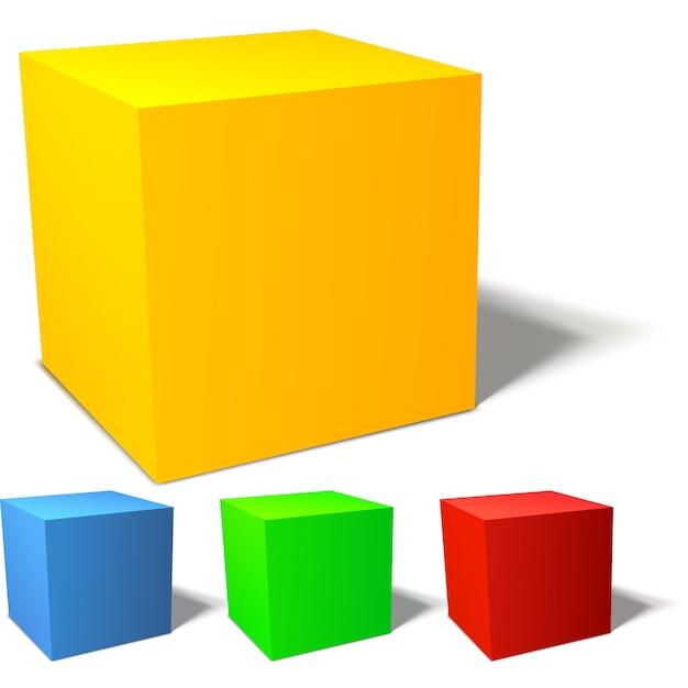 Set of colorful 3d cubes Premium Vector