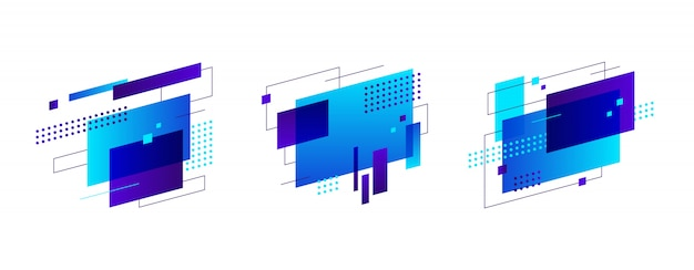 Set of colorful abstract figures banner Free Vector