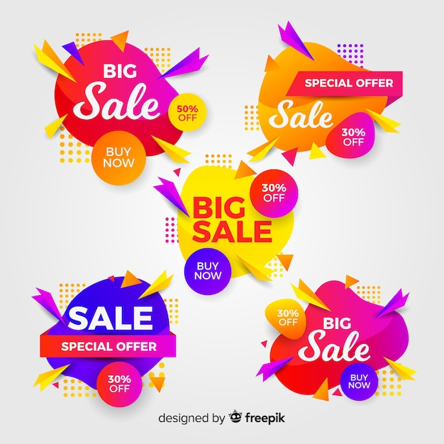 Set of colorful abstract sale banners Free Vector