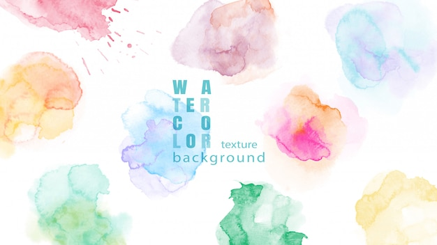Set of colorful abstract watercolor stain background Premium Vector