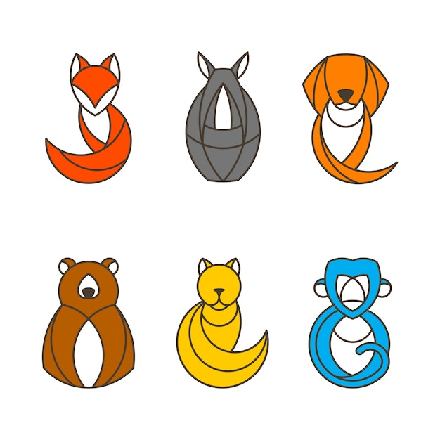 Set of colorful animal vectors Free Vector
