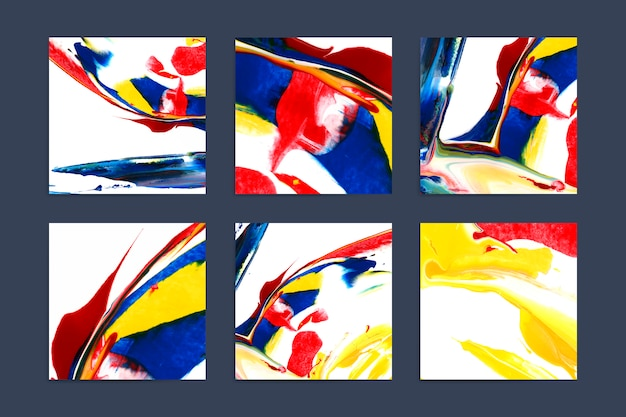 Set of colorful artistic square backgrounds Free Vector