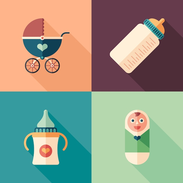 Set of colorful baby flat square icons with long shadows. Premium Vector