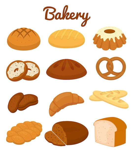 Set of colorful bakery icons depicting pretzels  muffins  loaves of bread Free Vector