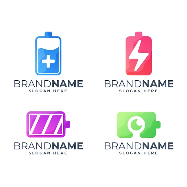 Set of colorful battery logo template Premium Vector