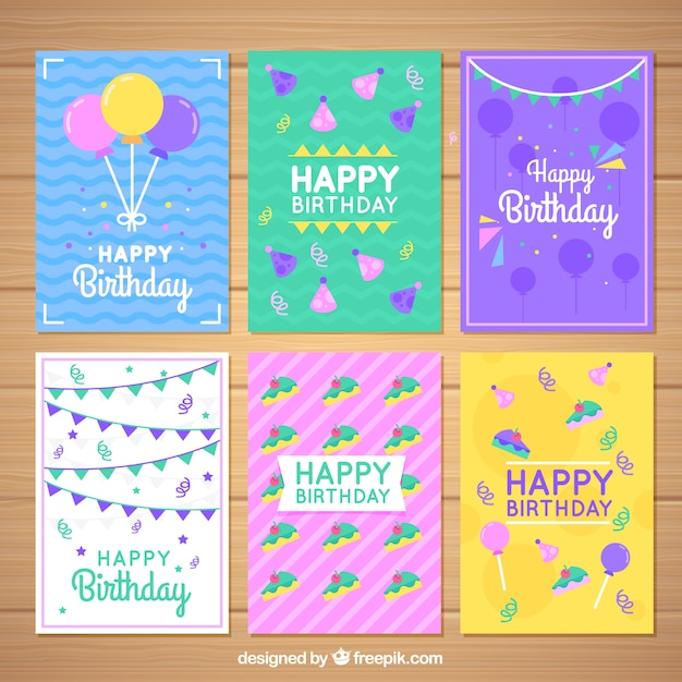 Set Of Colorful Birthday Cards In Flat Design Free Vector