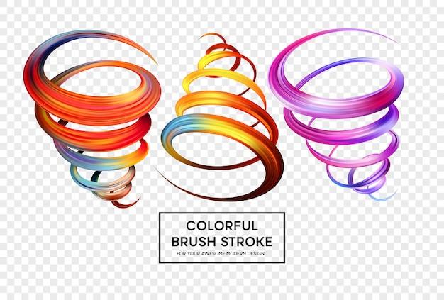 Set of colorful brush strokes. Premium Vector
