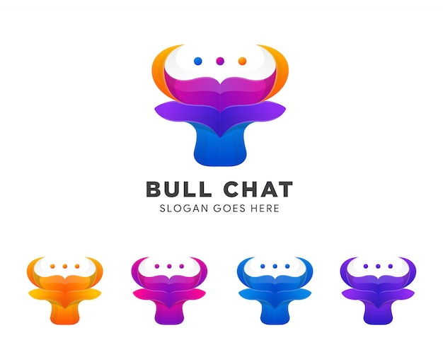Set of colorful bull talk or chat negative space mark icon symbol logo  creative . Premium Vector