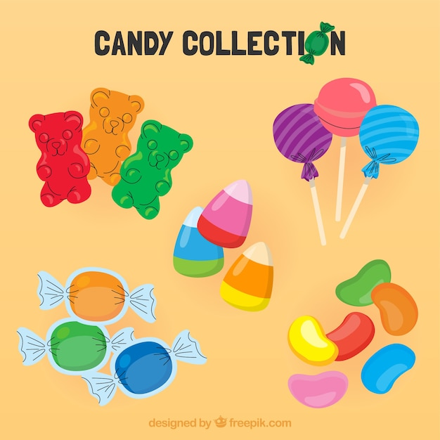 Set of colorful candies in flat style Free Vector